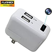 Hidden Spy Camera Full 1080P Motion Detection Activated Camera 1080P Hd Night Vision USB Wall Charger with Micro SD Security Camera for Home and Office