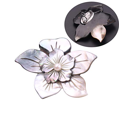 (Abalone Shell Dual-use Brooch Necklace - Pearl Flower Pendant Necklace Sweater Chain and Brooch for Women and Girls, Creative Mother's Day Gift for Mom (Pearl Flower))