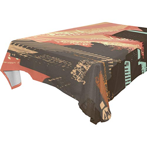 - FAKAINU Decor Tablecloth Cityscape Grunge Background Vector Illustration Series Multicolor Rectangular Table Cover for Dining Room Kitchen Outdoor Picnic