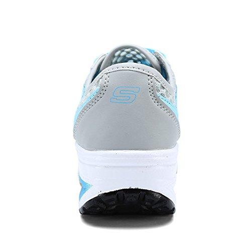 EnllerviiD Damen Sneaker Atmungsaktiv Mesh-oberfläche Schuhe Laufschuhe Plateau Freizeitsschuhe Grau-Blau 38