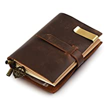 """7Felicity Classic Genuine Leather Notebook,5.3"""" x 4"""" Refillable Pages Leather Journal,Handmade Personalized Traveler's Notebook(Style 12S) (Brown)"""