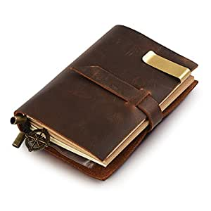 7Felicity Classic Genuine Leather Notebook,Refillable Pages Leather Journal for Gifts,Fountain Pen Users,Diary,Handmade Personalized Traveler's Writing Notebook(Style 12S) (Brown)