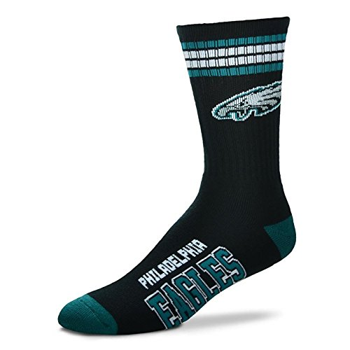Eagles Gift Philadelphia - NFL 4 Stripe Deuce Crew Socks Mens-Philadelphia Eagles-Size Large(10-13)