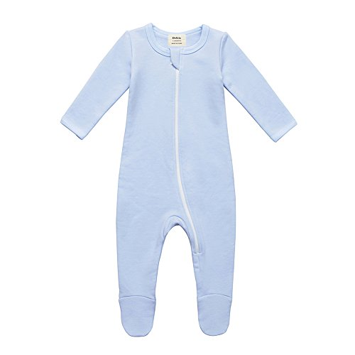 Price comparison product image Owlivia Organic Cotton Baby Boy Girl Fleece Zip Up Sleep N Play,  Footed,  Long Sleeve (Size 0-18 Month) (6-12 Months,  Blue)