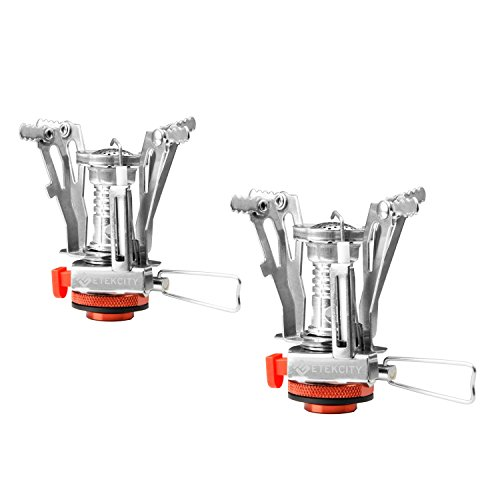 Etekcity Ultralight Portable Mini Outdoor Backpacking Camping Stoves with Piezo Ignition (Orange, 2 Pack) (Canister Stand Propane)