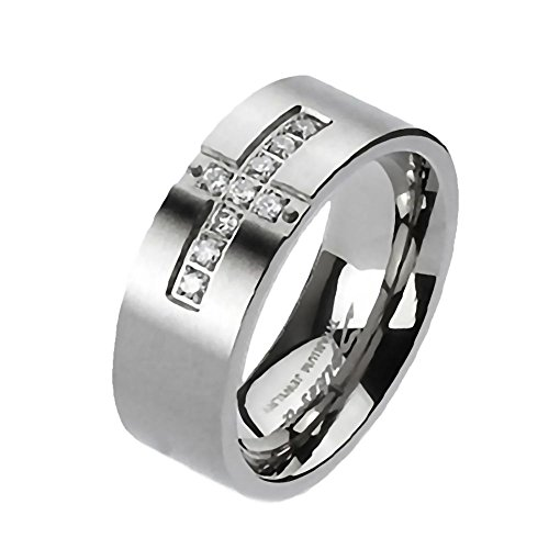 Alex: Unisex 6mm Cross Paved Russian Ice on Fire CZ Wedding Band Ring Titanium, 3280A sz (Best 1000 Jewels Friends Unisex Rings)