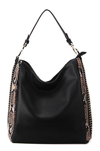 Studded Fashion Hobo Handbag (MKF Collection Kacy Hobo Bag, Shoulder Bag. (Black))