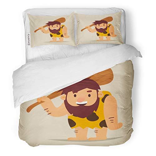 Semtomn Decor Duvet Cover Set Full/Queen Size Age Cartoon Caveman Club Stone Adult Barbarian Caves Character 3 Piece Brushed Microfiber Fabric Print Bedding Set Cover