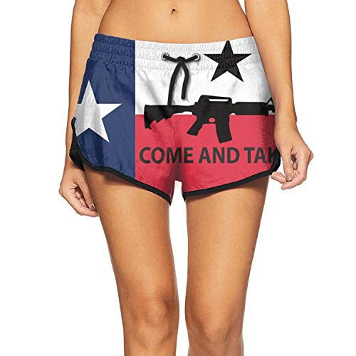 Women's Beach Pants AK-47 AR-15 Come and Take It Texas Swimming Trunks Casual Womens Shorts (Best Drum Magazine For Ar15)
