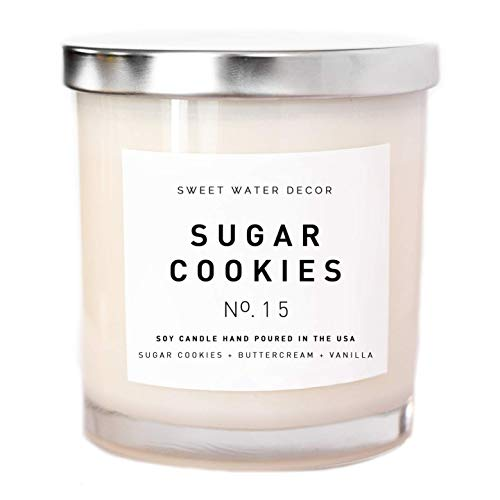 Sugar Cookies Natural Soy Wax Candle White Jar Buttercream Frosting Vanilla Winter Holiday Scent Christmas Candle Food Candle Made in USA Christmas Farmhouse Stocking Stuffer Bathroom Accessories (Sugar Cookies In A Jar For Christmas)