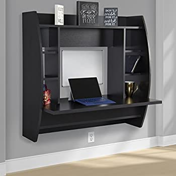 Best Choice Products Wall Mount Floating Computer Desk With Storage Shelves  Home Work Station  Black