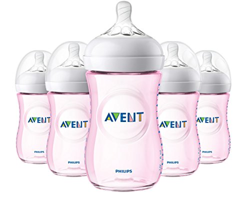Philips Avent Natural Baby Bottle, Pink, 9oz, 5pk, SCF013/58 ()