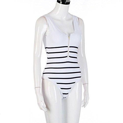 Costume da Bagno, Donna Nero Strisce Costumi da Bagno con Cerniera Sexy Siamese Bikini Reggiseno Imbottito Push-up Slim Fit Beachwear Costumi da Bagno Interi per Donna, Bianca