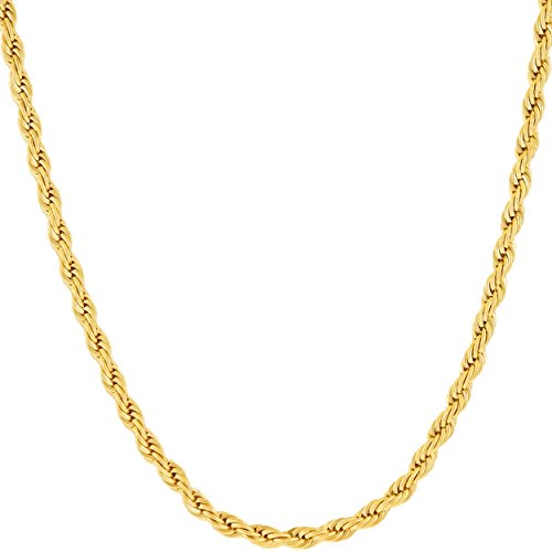 Lifetime Jewelry 3MM Rope Chain, 24K Gold with Inlaid Bronze, Premium Fashion Jewelry, Wear Alone or with Pendant, GUARANTEED FOR LIFE, 24 Inches