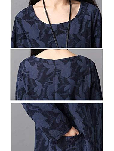 Lunga Girocollo Tasche Allentato Cotone Autunno Shirt Camicetta Elegante Con Lungo Casual Abiti Abito Chic Blau Manica Lino In Donna T Hippie Inverno Camicia Ragazza AOp1q