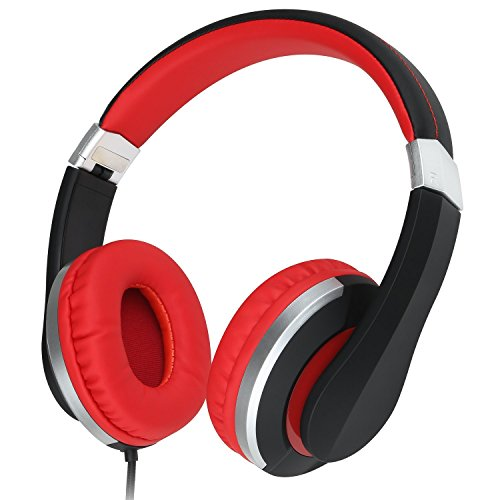 RockPapa Foldable Adjustable Stereo Portable Wired Headphones with In-Line Microphone, Over Ear Kids Childrens Adults Headsets Folding for CellPhones Tablets MP3/4 DVD Computer (Black/Red)