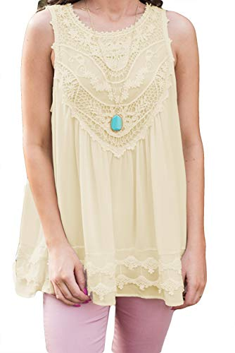 POGTMM Women's Plus Size Summer Casual Sleeveless Lace Tops Lace Trim Tunic Tops Chiffon Blouses (XL(16-18), Z-Beige) (Beige Lace Tunic)