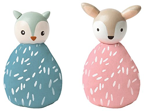 - MiO Bean Bag Animal Imaginative Play Character Peg Dolls - Owl & Deer Montessori Style STEM Learning Wooden Building Accessory for 3 Years + Up by Manhattan Toy