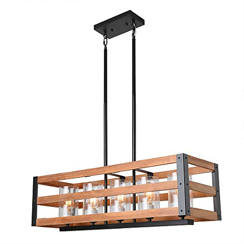 Eumyviv C0028 5-Lights Rectangle Three Tiers Wood Metal Pendant Lamp with Glass Shade Black Finished Retro Rustic Vintage Industrial Edison Ceiling Lamp Linear Chandeliers
