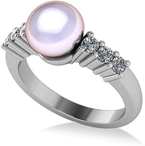 Anillo de compromiso con perlas y diamantes acentuado 14k oro blanco 8mm (0,30ct), anillo de compromiso de oro para siempre, anillo de bodas, anillo de oro prometido