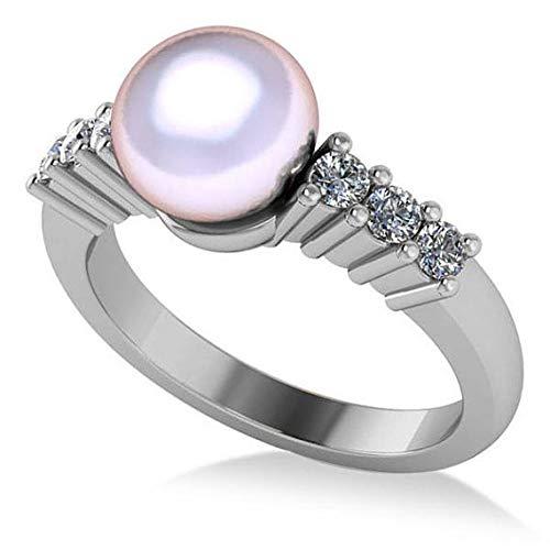 Anillo de compromiso con perlas y diamantes acentuado 14k oro blanco 8mm (0,30ct