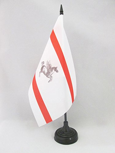 (AZ FLAG Tuscany Table Flag 5'' x 8'' - Italy - Italian Region of Toscana Desk Flag 21 x 14 cm - Black Plastic Stick and Base)