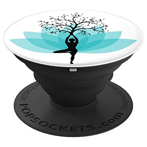 Woman's Yoga Tree Pose with Blue Lotus Flower Feminine Yoga - PopSockets Grip and Stand for Phones and Tablets