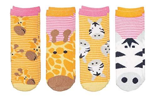 (FlapJackKids - Kids' Sock Safari - Giraffe/Zebra - Baby Girl (0-12 mos)(4 Pairs))