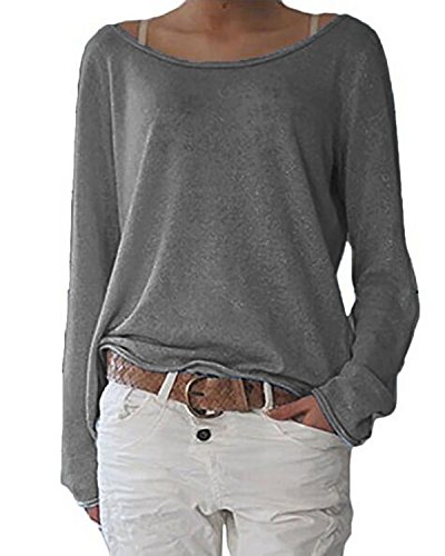 Grey Long Sleeve Tee (ZANZEA Women's Spring Autumn Crew Neck Long Sleeve Loose T-shirt Tops Blouse Gray US 6/Tag Size S)