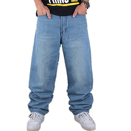 FashionOstyle Men's Hip Hop Style Casual Baggy Skateboard Loose Fit Washed Denim Jeans 36
