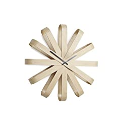 Umbra Ribbonwood, Large Modern Wall Clock, Battery Operated, Silent, Non Ticking, Unique, Natural Wood