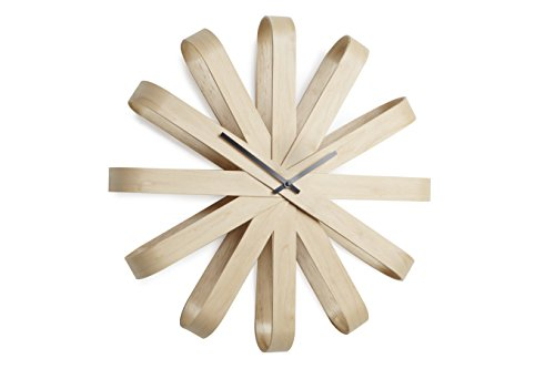 Umbra Ribbonwood, Large Modern Wall Clock, Battery Operated, Silent, Non Ticking, Unique, Natural Wood (Clocks Modern Kitchen)