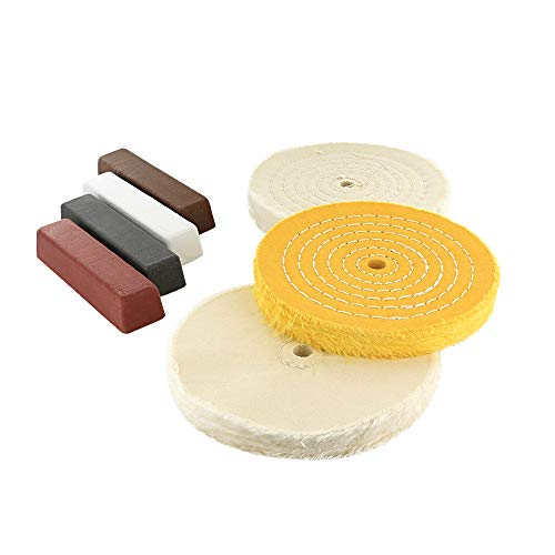 Drixet Professional Buffing & Polishing 7 Piece Kit - Set Includes: 3 Assorted 6 Inch with 1/2