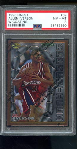 1996-97 Topps Finest #69 Allen Iverson ROOKIE RC NBA NM-MT PSA 8 Graded Card