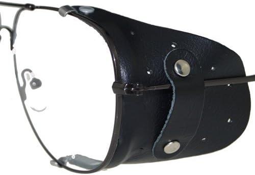 Protección lateral de piel en negro para grandes gafas   Protección contra el viento
