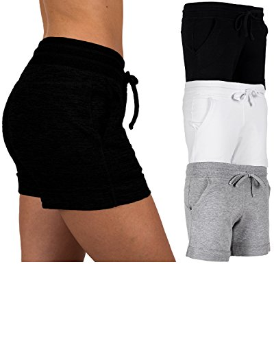 Sexy Basics Women's 3 Pack Active Wear Lounge Yoga Gym Casual Sport Shorts (3 Pack-Black/Grey/White, Medium) ()