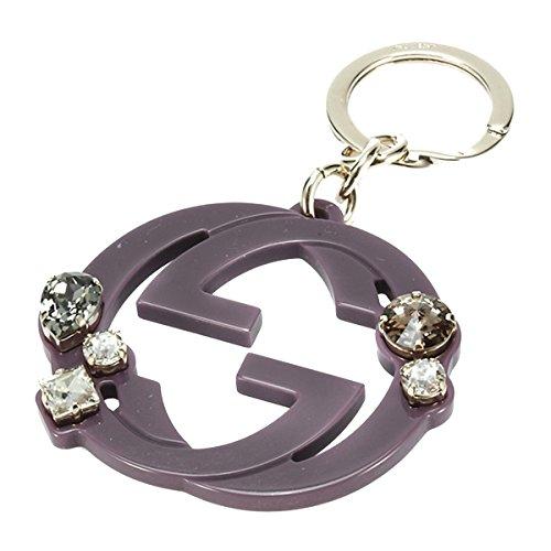 Gucci Purple Plexiglass Interlocking GG Logo Rhinestone Key Chain - Gold Gucci Logo
