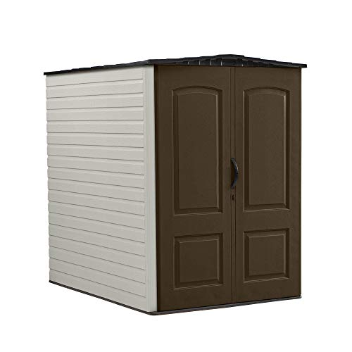 Rubbermaid 1967674 Large Outdoor Gardening & Tools Vertical Storage Shed, Brown
