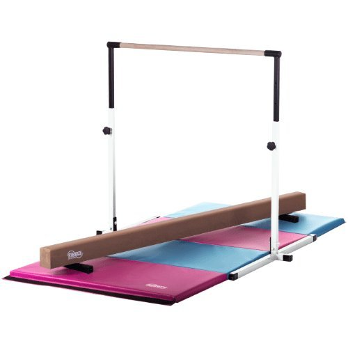 Little Gym White Adjustable Horizontal Bar Tan Low Balance Beam Pink/Light Blue Gymnastics Folding Mat