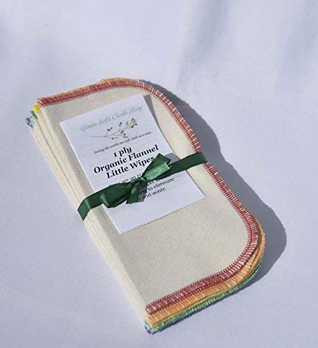 1 Ply Organic Flannel Washable Baby Wipes 8x8 Inches Set of 10 Assorted Rainbow Edging