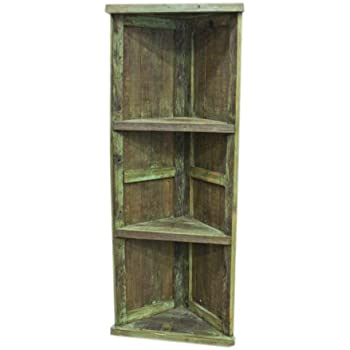 Amazon Com Green Painted Corner Bookcase Western Rustic Real Wood Kitchen Amp Dining