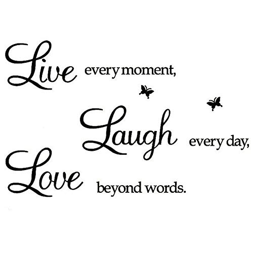 Live Every Moment,Laugh Every Day,Love Beyond Words,Wall Sticker Motivational Wall Decals,Family Inspirational Wall Stickers Quotes (Art Words Wall For)