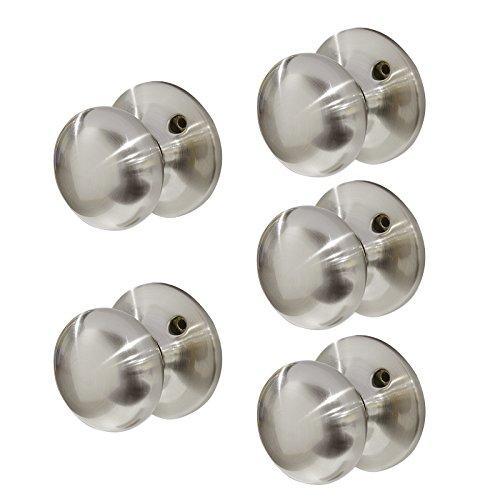 (Probrico 5 Pack Satin Nickel Single Dummy Door Knobs, Interior Non- Functioning Door Handles for French Door Closet)