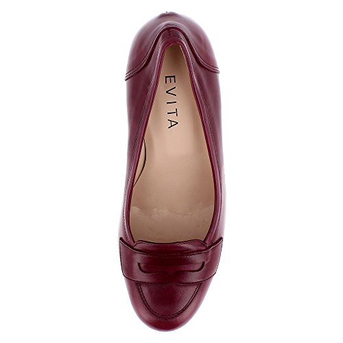 mujer Maria Zapatos oscuro Shoes Piel de para de vestir Evita rojo 5w87q4ZU