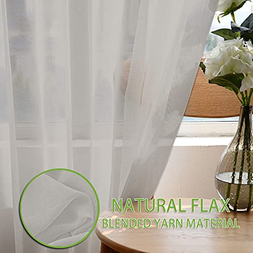 TFJ 2 Panels Taupe Semi Sheer Curtain Panels 84 Inches Long for Living Room, Sheer Backdrop Curtains with Grommet Top Window Curtain Panels for Bedroom (Blue, W52 x L84 Inches)