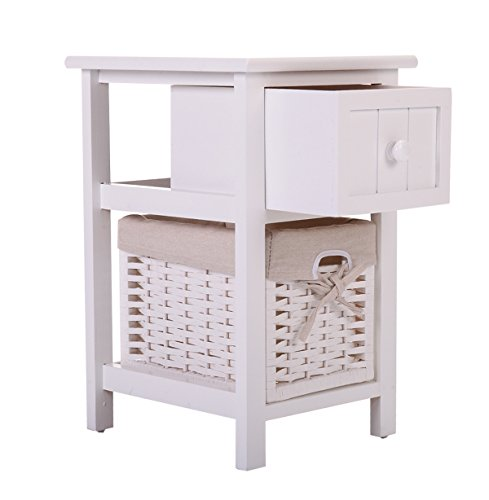 JAXPETY Night Stand 2 Layer 1 Drawer Bedside End Table Organizer Bedroom Wood W/Basket (1) by JAXPETY (Image #3)'