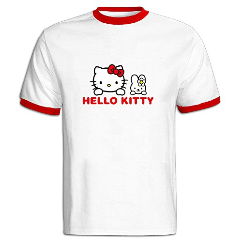 FENGTING-Mens-Kitty-White-And-My-Melody-Hello-Kitty-Hit-Color-T-shirt