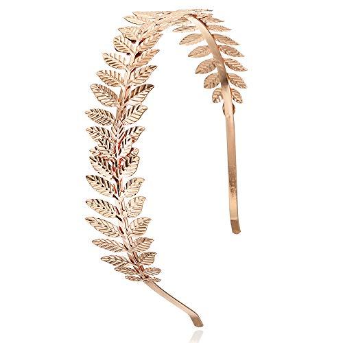 Aegenacess Leaf Headband Wedding Greek Goddess Branch Roman Dainty Hair Bridal Crown Head Dress Boho Accessories for Bride Costumes Halloween (Rose Gold)]()