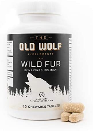 Wild Fur Skin and Coat Supplement for Dogs for Itchy Skin, Hot Spots Treatment Seasonal Allergies, Reduce Shedding, Improving Coat Shine with Grapefruit Seed Extract – 60 Chewable Tablets