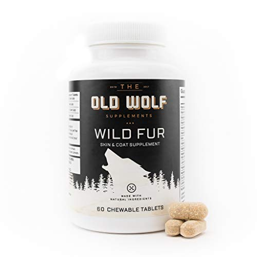 (Wild Fur Skin and Coat Supplement for Dogs: For Itchy Skin, Hot Spots Treatment & Seasonal Allergies, Reduce Shedding, Improving Coat shine with Grapefruit Seed Extract - 60 Chewable Tablets)